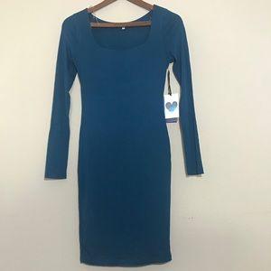 Iris Teal Women's Long Sleeve Bodycon Dress Medium